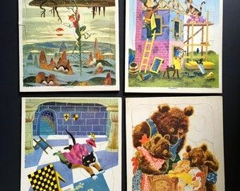 Vintage Playskool Puzzles. Lot of 4. Fairy Tale Puzzles.