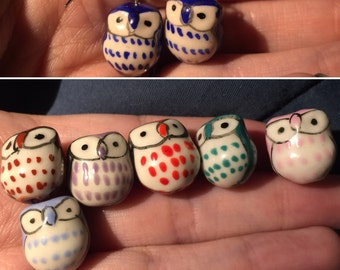 Red Owls Ceramic earrings