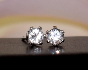 Amazing, Natural, White Sapphire Earrings - 3mm Diamond Cut, Ceylon, Sri Lanka. Sterling Silver, 6-Prong Studs.  Backs+Case, Gift Box Option