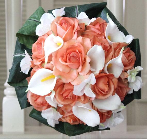 Coral, Calla lilies, Roses,  Bride, Bridesmaid