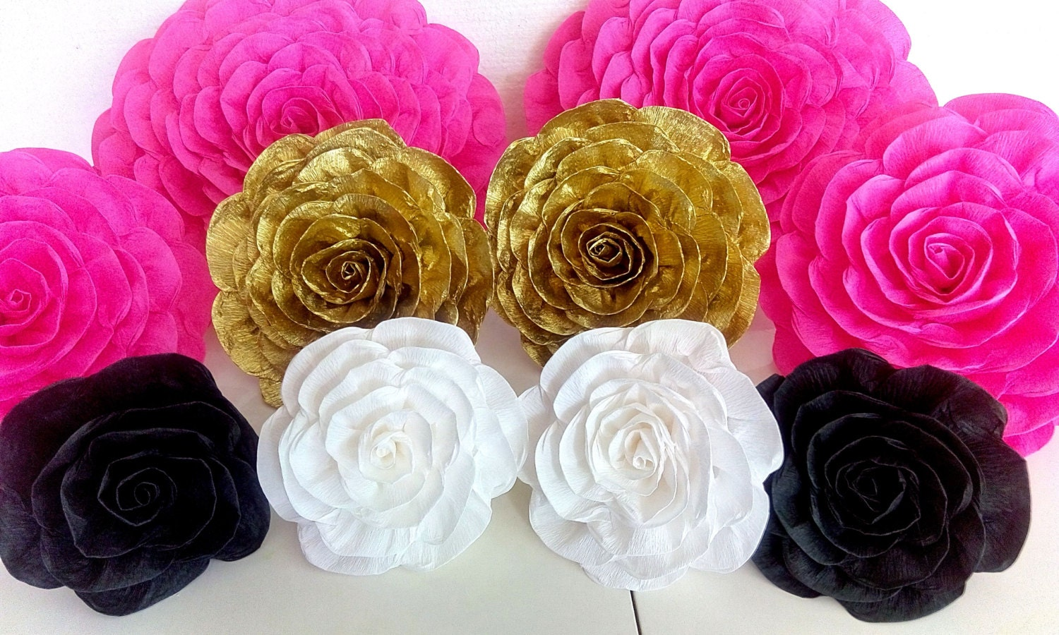 6 Giant Paper Flowers Bridal Kate Shower Spade Baby Wall