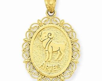 14K Solid Yellow Gold Aries Zodiac Horoscope Oval Pendant Charm LKQC2843