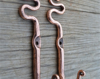 A pair of Beautiful artisan made solid copper snake coat hook door coat hook wall hanger ob1