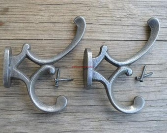 Pair of antique style cast iron Addison coat hook c/w screws
