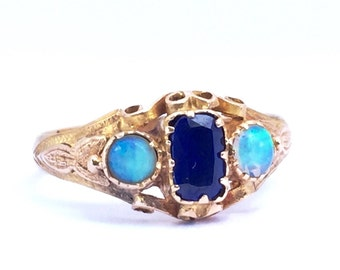 SALE | Antique Opal Ring In 15k Yellow Gold English Hallmarks