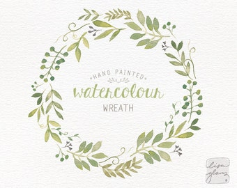 Watercolor wreath: painted floral wreath clipart / Wedding invitation clip art / commercial use / Greenery branches and leaves / CM0063j