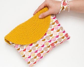 Crasty Flap/ Alfa / handbag for her in a floral and geometric fabric, changeable crochet flap