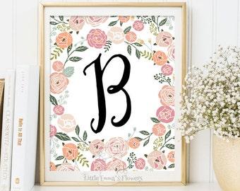 printable initials calligraphy monogram print newborn gift Baby shower favor Initial playroom decor Nursery Letter Monogram girl room Art 16