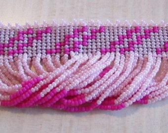 Hand Made Pink Seed Bead Choker