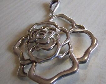 Sterling Silver Rose Pendant JCM