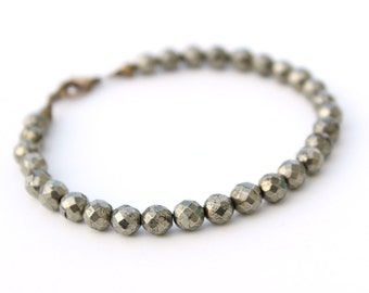 Protection Bracelet, Healing Bracelet, Pyrite Bracelet, Stack Bracelet, Unisex Bracelet, Boyfriend Gift, Husband Gift, Beaded Bracelet
