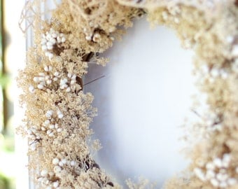 Dried wreath, door wreath, decor wreath, indoor wreath,  natural color sesame bloom, aka candytuft or peppergrass with tallow berries.