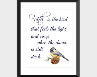 Faith Quote Watercolor Chickadee on Pine Cone Instant Digital Download, Hand Painted Watercolor Print, Printable Wall Art