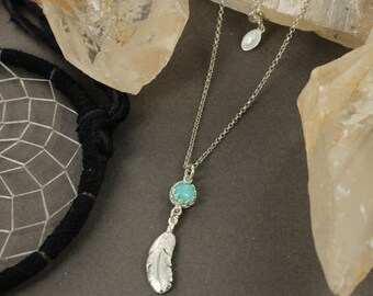 Feather necklace - Amazonite necklace - Boho chic necklace - Handmade