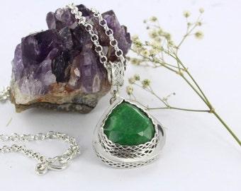 Emerald necklace - Baroque necklace - Sterling silver - Handmade
