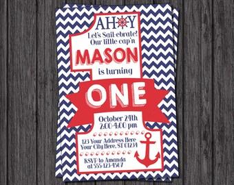 Nautical First Birthday Invitation - Nautical 1st Birthday Invitations - Anchor, Sailor, Navy and Red