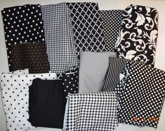 Assorted Collection of Cotton Fabric Remnant Pieces - Designs in Black