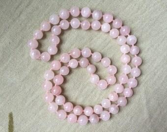 Rose Quartz Bead Necklace -- 615