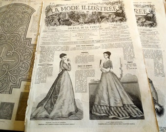 La Mode Illustree 1868 Antique French Magazine, Art Deco Fashion 15 March 1868 French Vintage paper wrapping framing scrapbooking ephemera