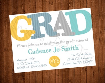 "Modern ""GRAD""  Graduation Invitation (Printable)"