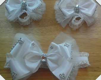 White Baby Bare Foot Sandals With Matching Headband For Preemie-Newborn Sets