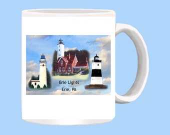 Erie PA Lighthouses on 11 oz mug