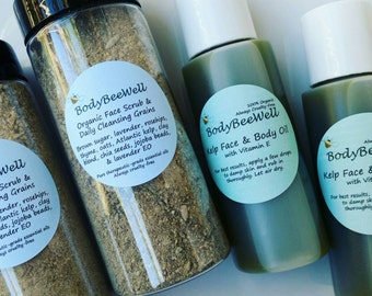 Organic Kelp Face & Body Oil, Vegan Cosmetics, Oil for Acne, Soothing Aftershave, Cruelty-Free Beauty!