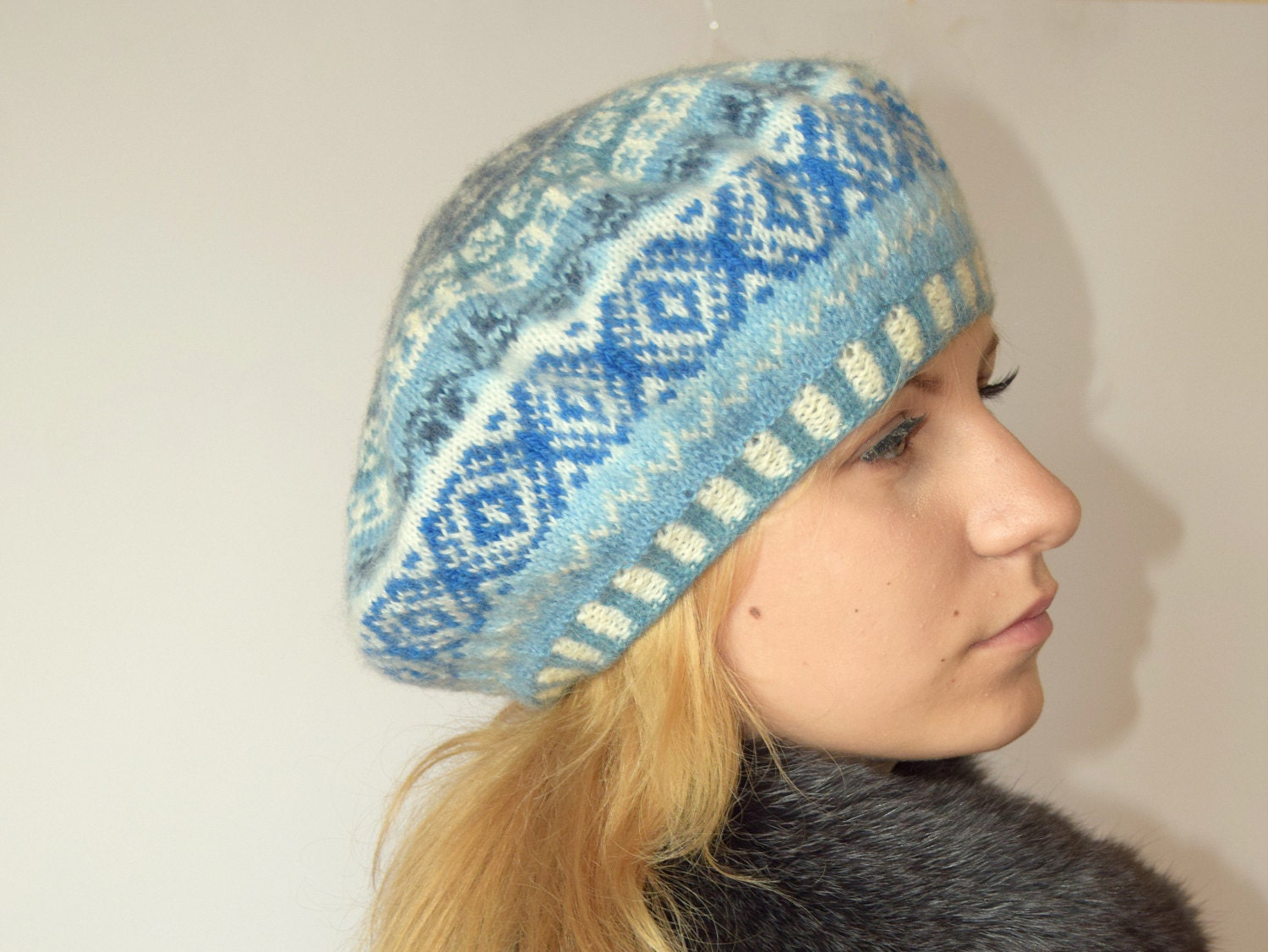 Knitting Pattern For Womens Beret : Hand knit wool Beret patterned beret Womens Knit Beret fair