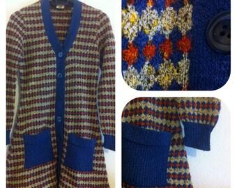 Mini dress 1970s /size S/ V-neck / pocket /button closure