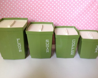 Avocado green canisters, retro canisters, plastic canisters, Max Klein, flour sugar coffee tea