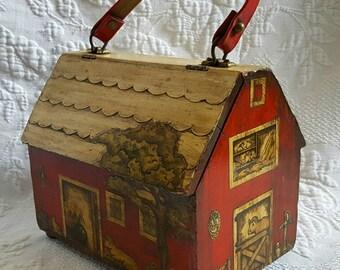 Vintage wooden Farmhouse purse