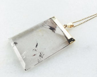 Necklace Natural Crystal Quartz / Goldfilled 18K Chain / BAMBI Boutique / JN02