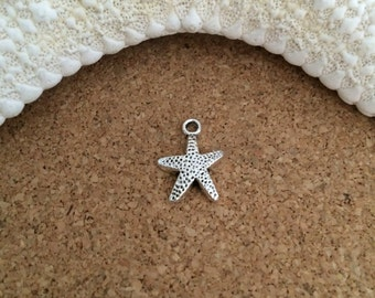 ADD-ON Charm - STARFISH Charm - Antique Silver - Choose with or w/o jump or split ring - Beach Charm -Small Starfish Charm, Silver Starfish