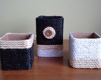 Homemade Storage Boxes Nautical Rope & Cardboard Boxes