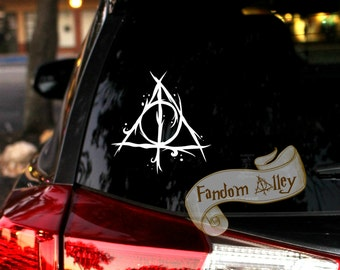 "Deathly Hallows Decal 'Funky Version' 4"" inches! Harry Potter inspired vinyl sticker"