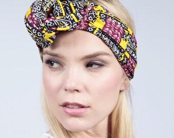 African print headband, Hair band, Afrocentric, Tribal print hair accessory, girls headband, Ankara headband, Colourful headband with flower