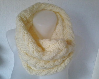 Snood round collar double neck, wool scarf 50%