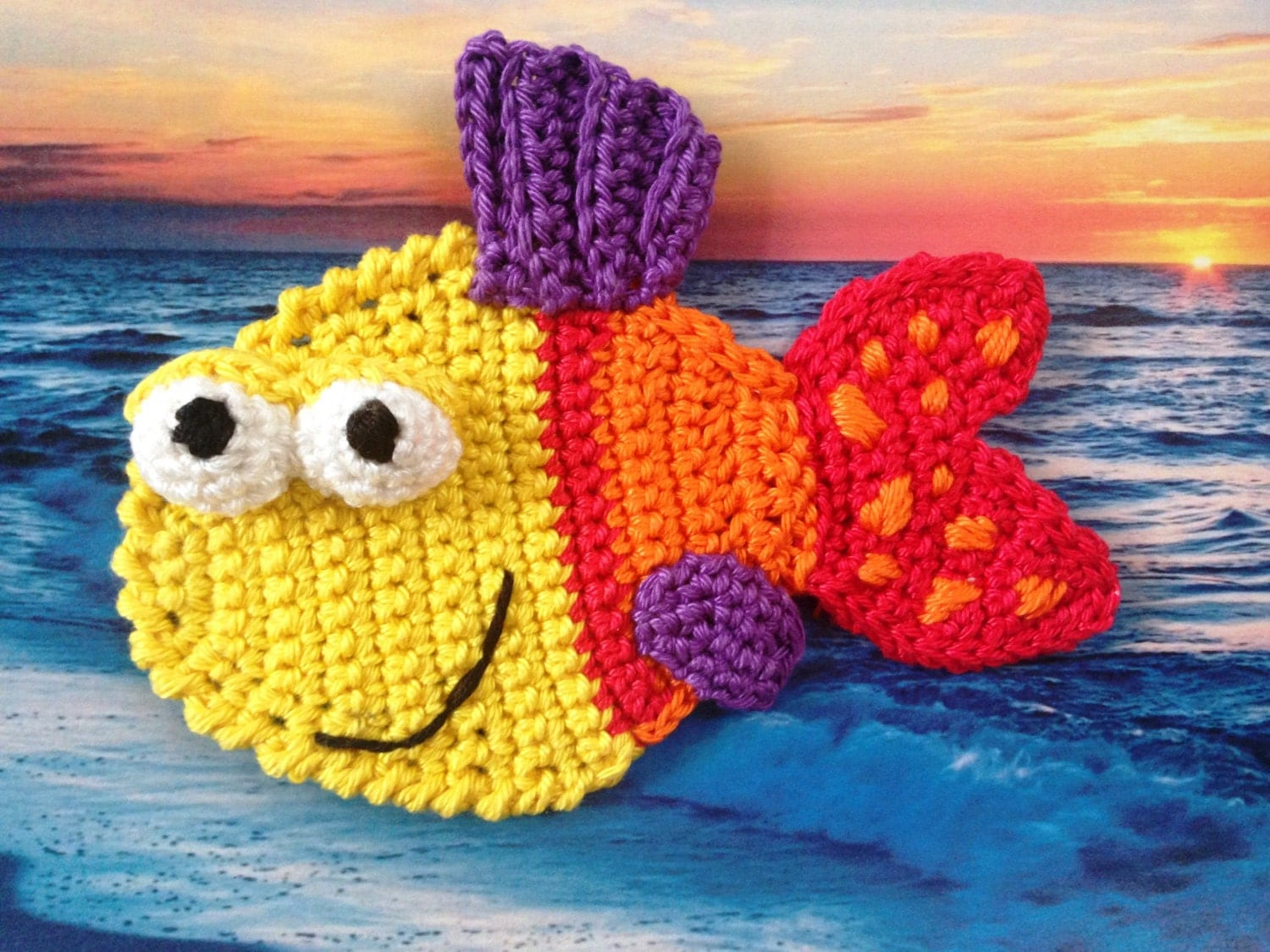 Free Crochet Fish Pillow Pattern : Crochet Applique pattern Crochet Fish applique pattern
