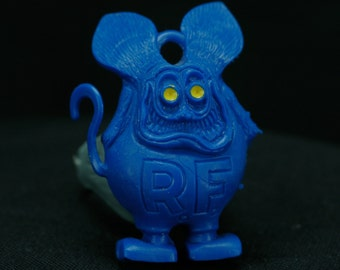 Vintage 1960s Blue RAT FINK charm Yellow eyes with Gray RING, tail is crooked