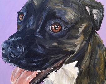 Pit bull art print from original painting