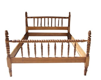 Antique FULL Size Jenny Lind Spindle Headboard/Footboard with Rails