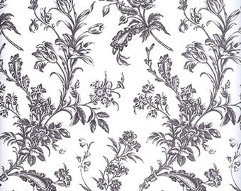 Black Floral Design on White Tissue Paper #347 / Gift Paper ... 10 large sheets, 20 x 30