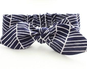 Baby knot headband in Navy Herringbone