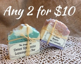 Select Two Natural Soap Bars -your Choice for Ten Dollars