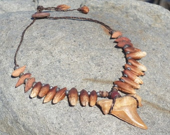 Fossilised Shark Tooth  and Seed Necklace