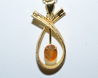 Vintage, Carnelian Filiree Gold Filled Pendant Necklace (1050019)