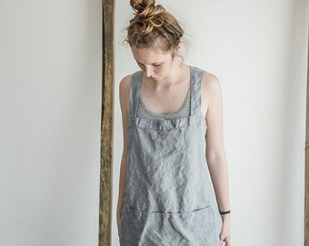 Short square cross linen apron/japanese style apron. Washed light elephant grey eco - friendly, handmade linen apron.