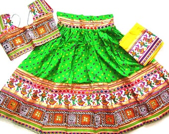 Navratri chaniya choli Green colour with embroidery work Lehenga Choli by Indian Designer.