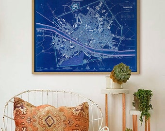 """Map of Florence 1835, Old Florence map, Blue or Sepia, 3 sizes up to 30x24"""" (75x60 cm) map of Firenze, Tuscany - Limited Edition of 100"""