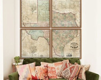 "Texas map 1858, Large map of Texas state in 4 sizes up to 72x72"" or 6x6 feet - Huge Texas map in 1 or 4 parts - Limited Edition of 100"